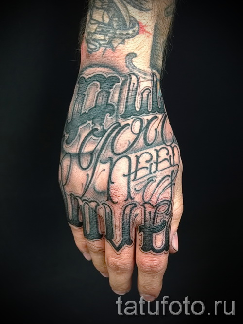 tattoo on the hand lettering - Photos and examples of 01032016 2