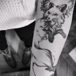 tattoo white fox - photo with an embodiment of the finished pattern of 29032016 1