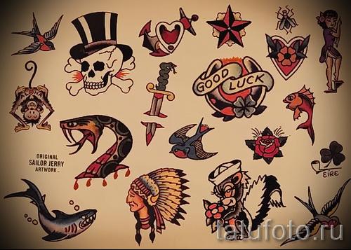 Мужские олд скул татуировки