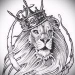 эскиз тату голова льва в короне