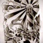 олд скул тату эскизы маяк 3