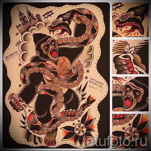 Эскизы татуировок олд скул на ногу