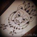 Олд скул тату эскиз с рисунком медведя