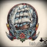 олд скул тату эскизы парусный корабль 1