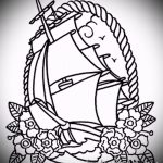 олд скул тату эскизы парусный корабль 2