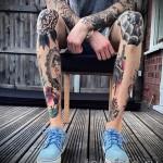 паутина тату на ноге 1