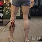 Прикольная татуировка с паутиной на ногу