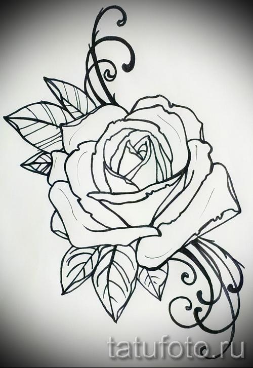 Тату цветы черно белые