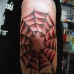 тату паутина на локте - выполнена с красными цветами - в рисунке есть звеза
