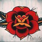 тату роза олд скул эскизы - смотреть прикольную картинку 1