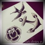 тату роза олд скул эскизы - смотреть прикольную картинку 13