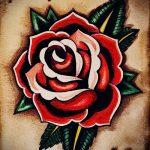 тату роза олд скул эскизы - смотреть прикольную картинку 2