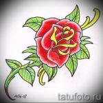 тату роза олд скул эскизы - смотреть прикольную картинку 6
