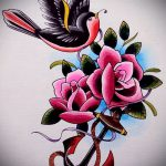 тату роза олд скул эскизы - смотреть прикольную картинку 7