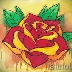 тату роза олд скул эскизы - смотреть прикольную картинку 9