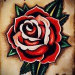 тату роза олд скул эскизы 4