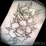 тату розы эскизы карандашом 1