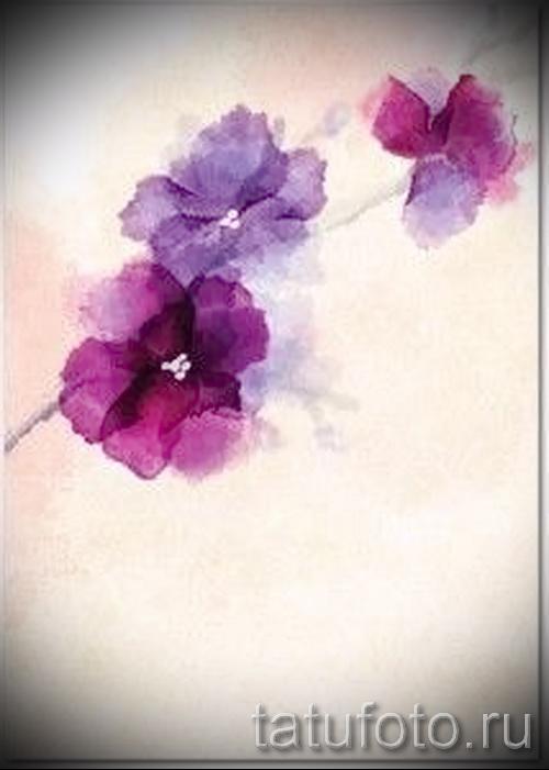 Акварель цветы тату эскиз
