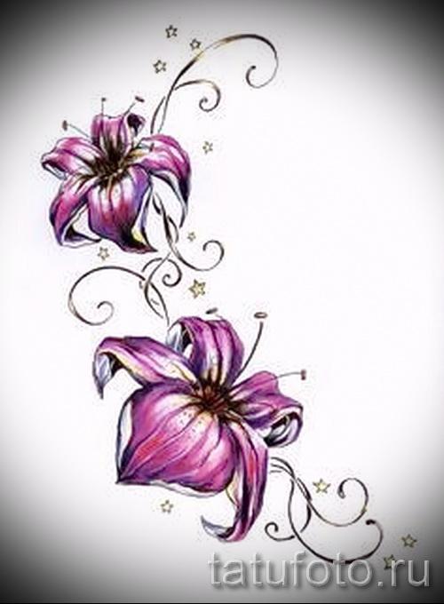 Татуировки цветные цветы для девушек 19