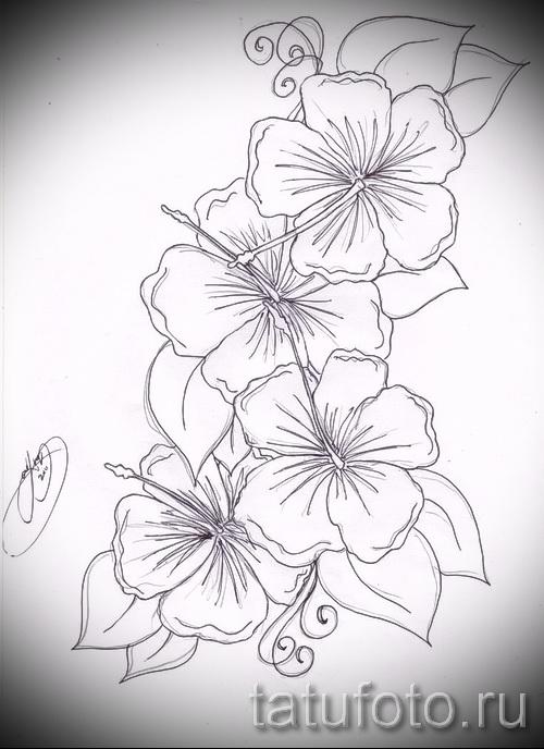 Рисунок цветы черные