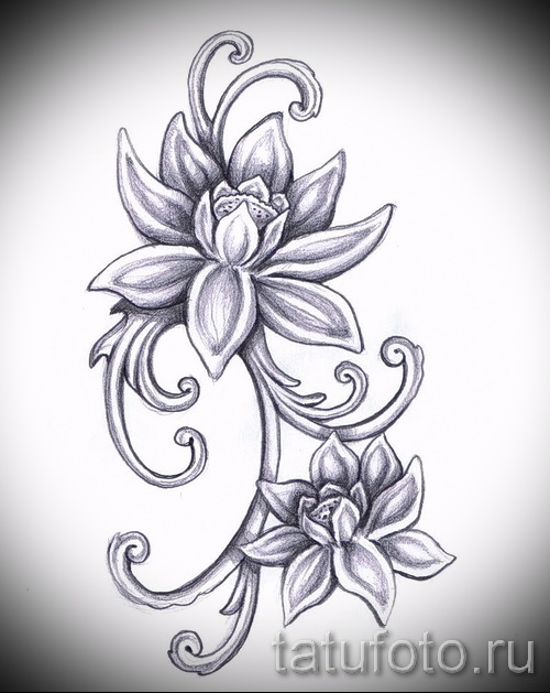 Эскизы тату цветок лотоса