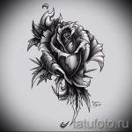 черная роза тату эскиз - смотреть прикольную картинку 10
