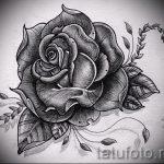 черная роза тату эскиз - смотреть прикольную картинку 3