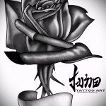 черная роза тату эскиз - смотреть прикольную картинку 6