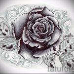 черная роза тату эскиз - смотреть прикольную картинку 7