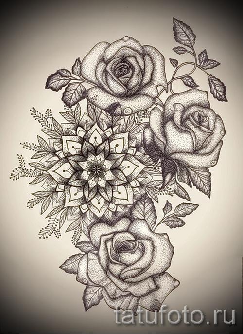 Эскиз тату розы на бедро