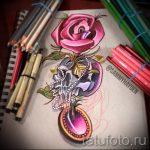 эскизы тату розы цветные - смотреть прикольную картинку 11