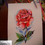 эскизы тату розы цветные - смотреть прикольную картинку 16