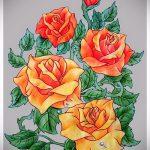 эскизы тату розы цветные - смотреть прикольную картинку 4