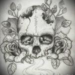 эскизы тату розы череп 1