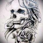 эскизы тату розы череп 2