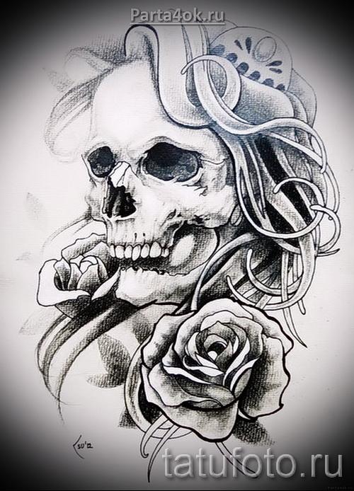Розы и череп тату 2