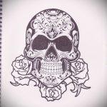 эскизы тату розы череп 3