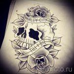 эскизы тату розы череп 4