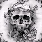 эскизы тату розы череп 5