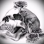 эскизы тату розы череп 6