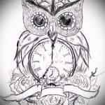 эскизы тату сова с часами 1