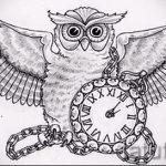 эскизы тату сова с часами 3