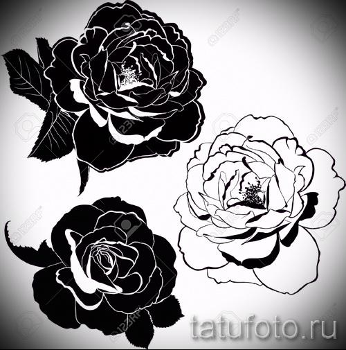Тату цветы черно белое