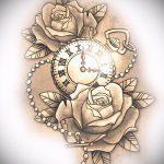 эскизы тату часы и розы 1