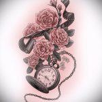 эскизы тату часы и розы 2