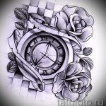 эскизы тату часы и розы 3