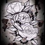 эскизы тату часы и розы 4
