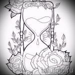 эскизы тату часы и розы 5