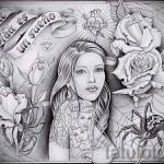 эскиз тату в стиле чикано 9