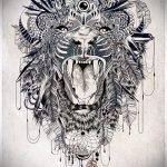 эскиз тату лев с перьями - рисунки для татуировки от 29042916 2